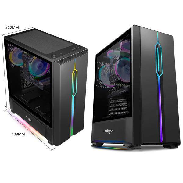 Aigo T20 Full Side Window Tempered Glass With Front & Bottom RGB Strip (CASING ONLY) Malaysia