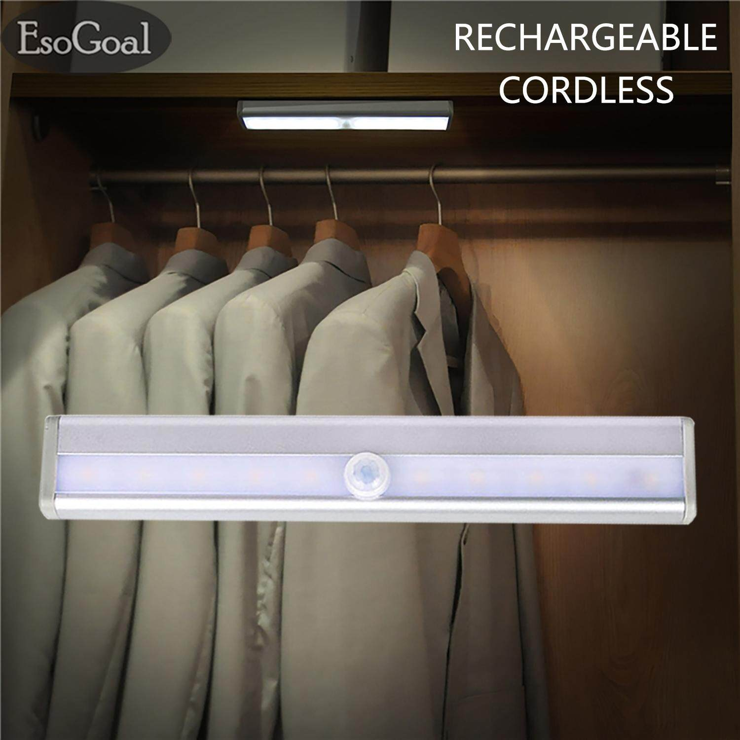 EsoGoal Motion Sensor LED Night Light USB Motion Sensor Light Rechargeble Wireless Closet Cabinet Light Indoor Bright Wall Light Lamp Singapore