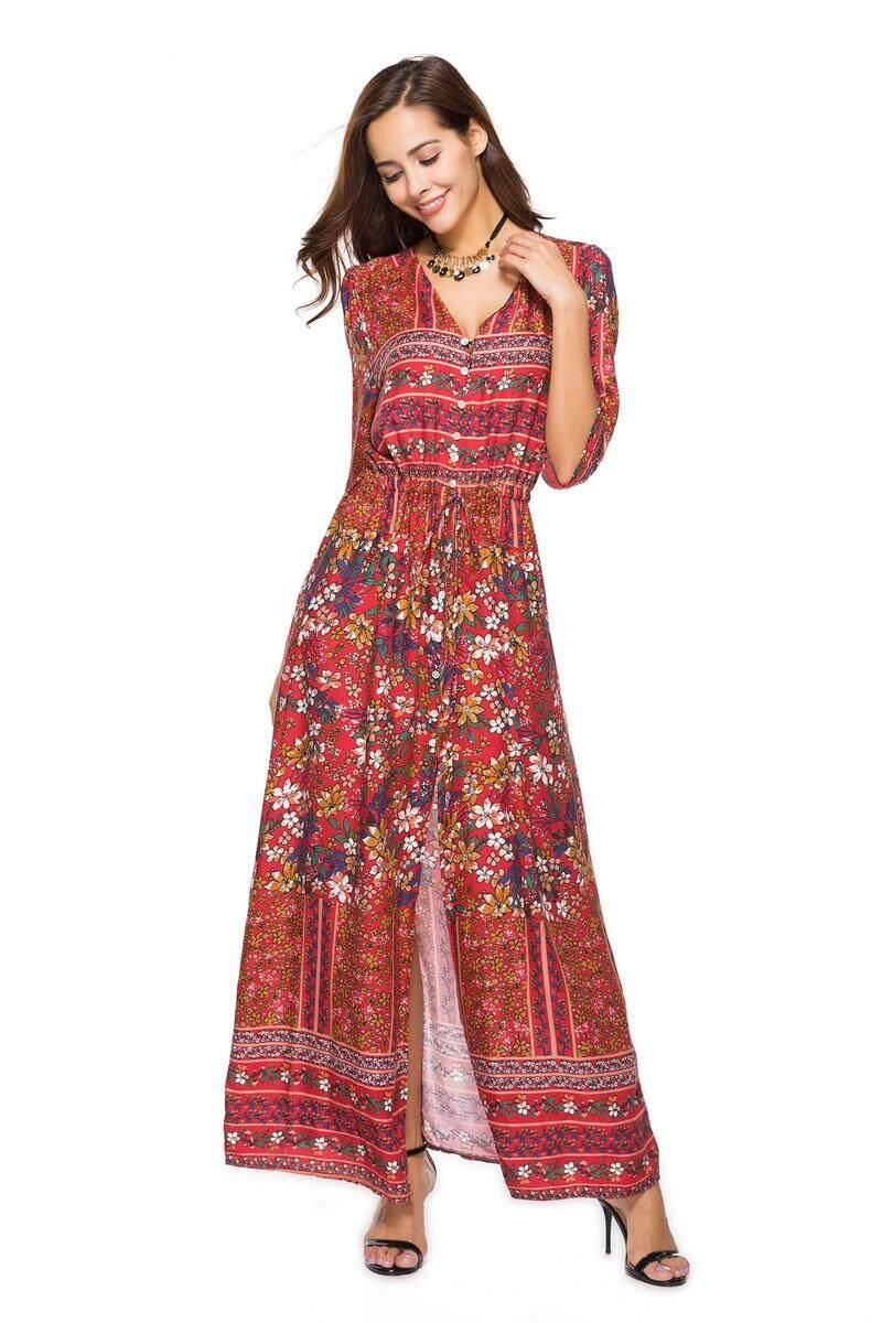 Eastern Dawn Gaun Wanita Rok Panjang Leher V Gaun Bersabuk Eropa dan Amerika Serikat Desain Mode Baju Kasual
