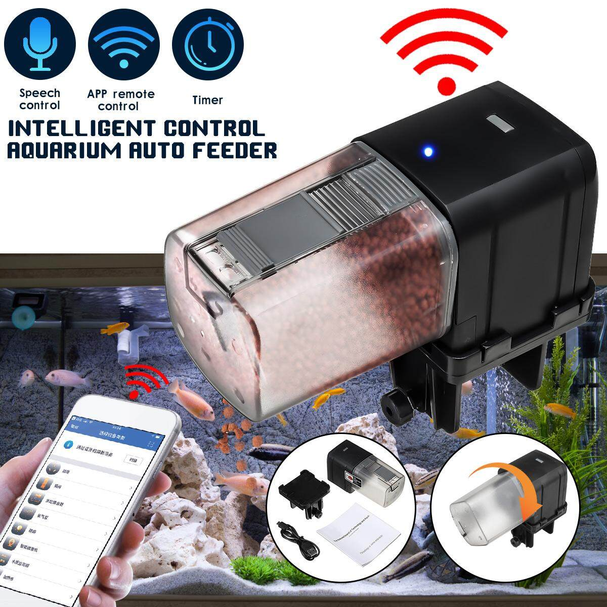 Wifi Auto Fish Tank Food Feeder Timer Speech Control Aquarium Pond Dispenser Usb By Audew.