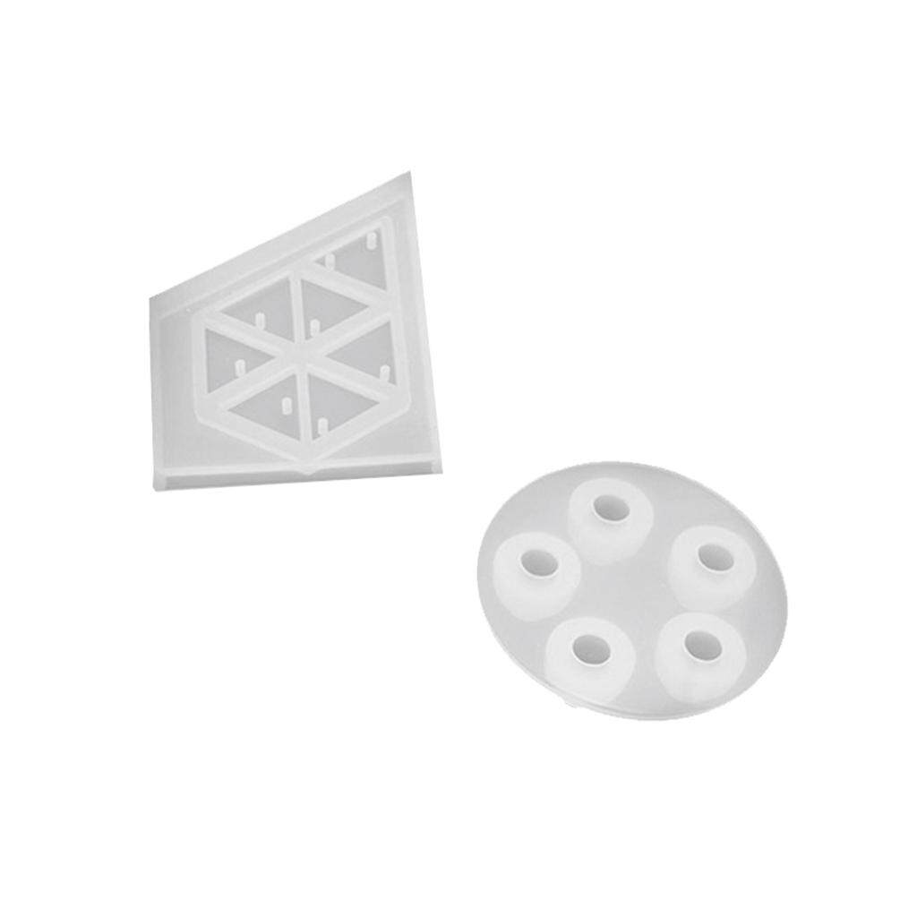 Hình ảnh BolehDeals 2pcs Triangle Round Beads Silicone Mold Mould Jewelry Resin Casting Making Craft