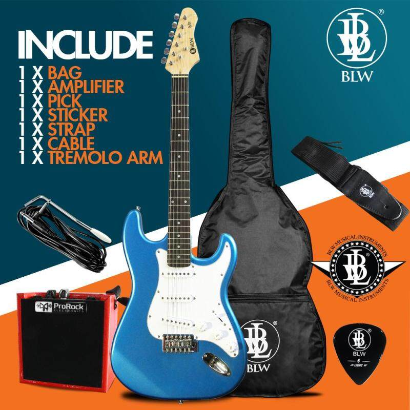 BLW Glitz Stratocaster Style Electric Guitar Starter Beginner Pack comes with Amplifier, Bag, Cable, Strap, Pick and Merchandise Sticker (Blue) Malaysia