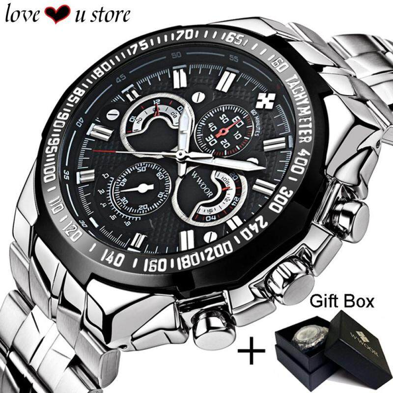Original Loveu Mens Watch Birthday Gift Full Stainless Steel Wrist Watch Men Watches Male Clock Luminous Quartz Watches Waterproof Sports Watch with Original Box Packing (Black) Malaysia