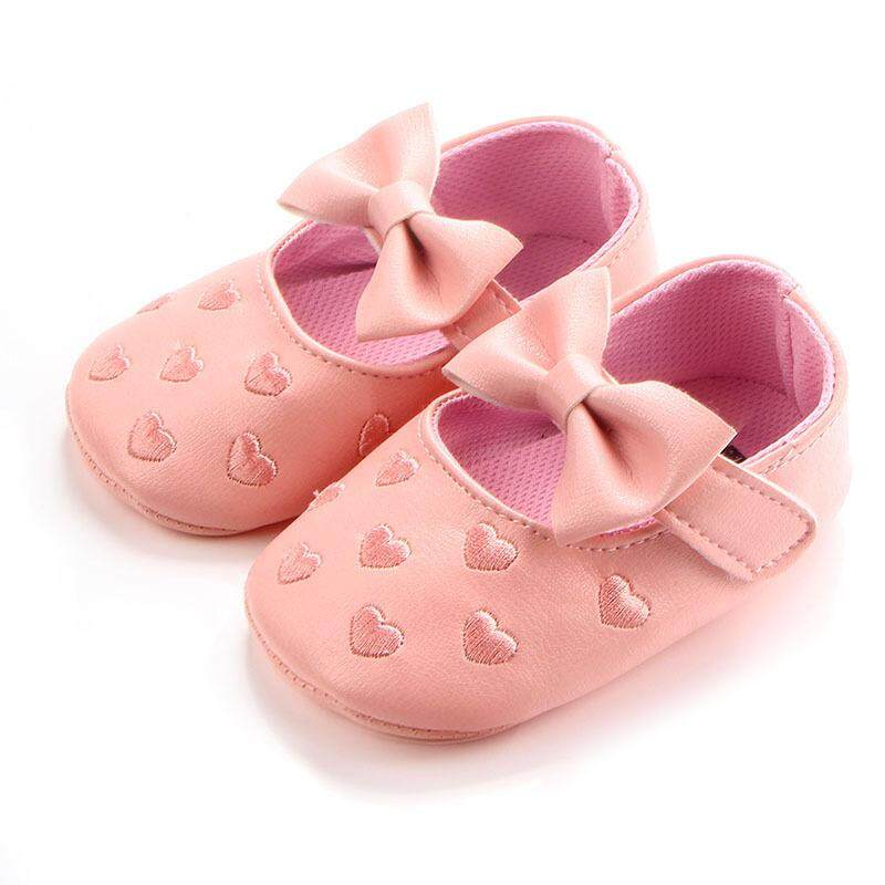 Big bow embroidery love pu leather baby girl shoes non-slip soft soled  footwear for b70303e594c5