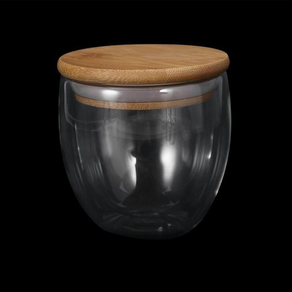 Detail Gambar Osman 250 Ml Dua Lapis Dinding Gelas Teh Jernih Cangkir + Tutup dari Bambu Set Kaca Cangkir Susu Kopi Terbaru
