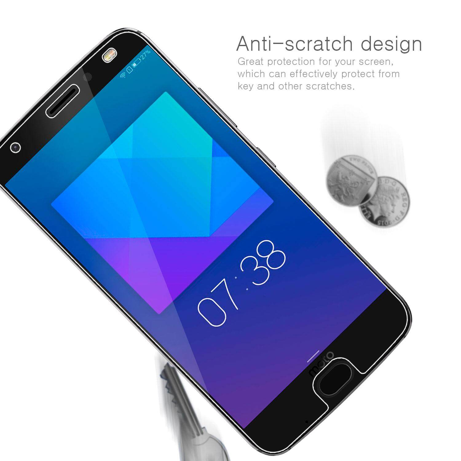 Detail Gambar Rymall For Moto Z2 Force 2 pcs Premium Tempered Glass Ultra Slim 9H Hardness HD 0 26 mm Clarity Clear Protective Screen For Moto Z2 Force
