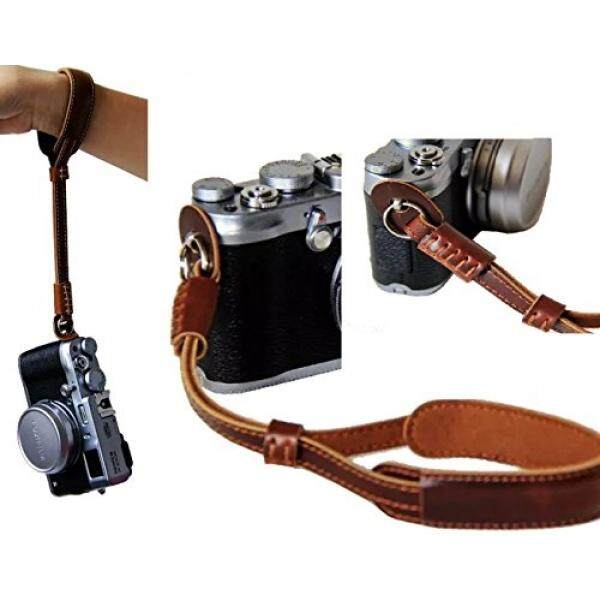TechCare Brown Leather Camera Hand Wrist Strap - Comfort Padding- Leather Hand Strap for Sony A6300 / RX100M5 / RX100M4 / WX500 / Fujifilm X30 X100 X-T10 / Canon G3X G7X G7X Mark II / Nikon J5 A900