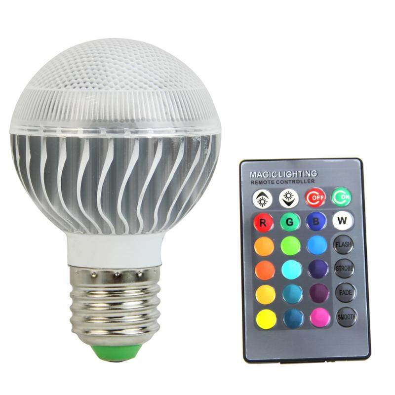 New Rgb Led E27 15w Lamp Color Changing Light Bulb With Remote Control 85-265v By Royallove.