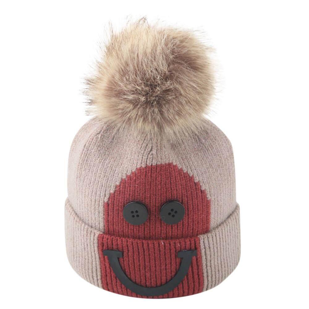 Foctroes Balita Gadis dan Bayi Laki-laki Musim Dingin Senyum Crochet Topi  Kupluk Rajut Topi 958f99a072