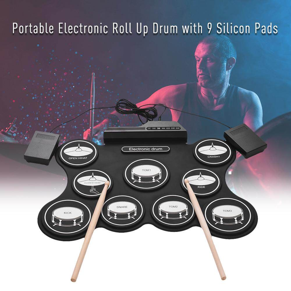 Portable USB Roll Up Drum Kit Digital Electronic Drum Set 9 Silicon Drum Pads with Drumsticks Foot Pedals for Beginners Children