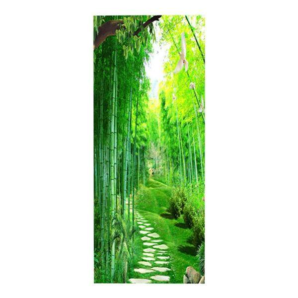3D Bamboo Forest Door Sticker Self Adhesive Removable Door Wall Mural Wallpaper for Home Decoration