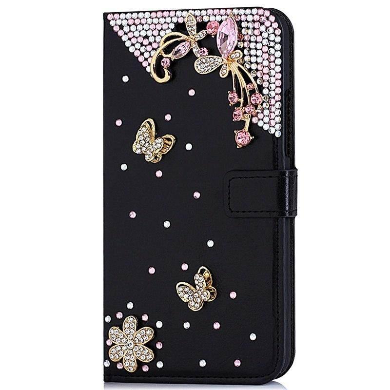 Mewah Wanita Fashion Diamond Mawar Hitam Case Case untuk Samsung Galaxy J5 Perdana/On5 2016 Flip Rhinestone Dompet Kulit sarung Buatan Tangan untuk Samsung Galaxy J5 Perdana/On5 2016