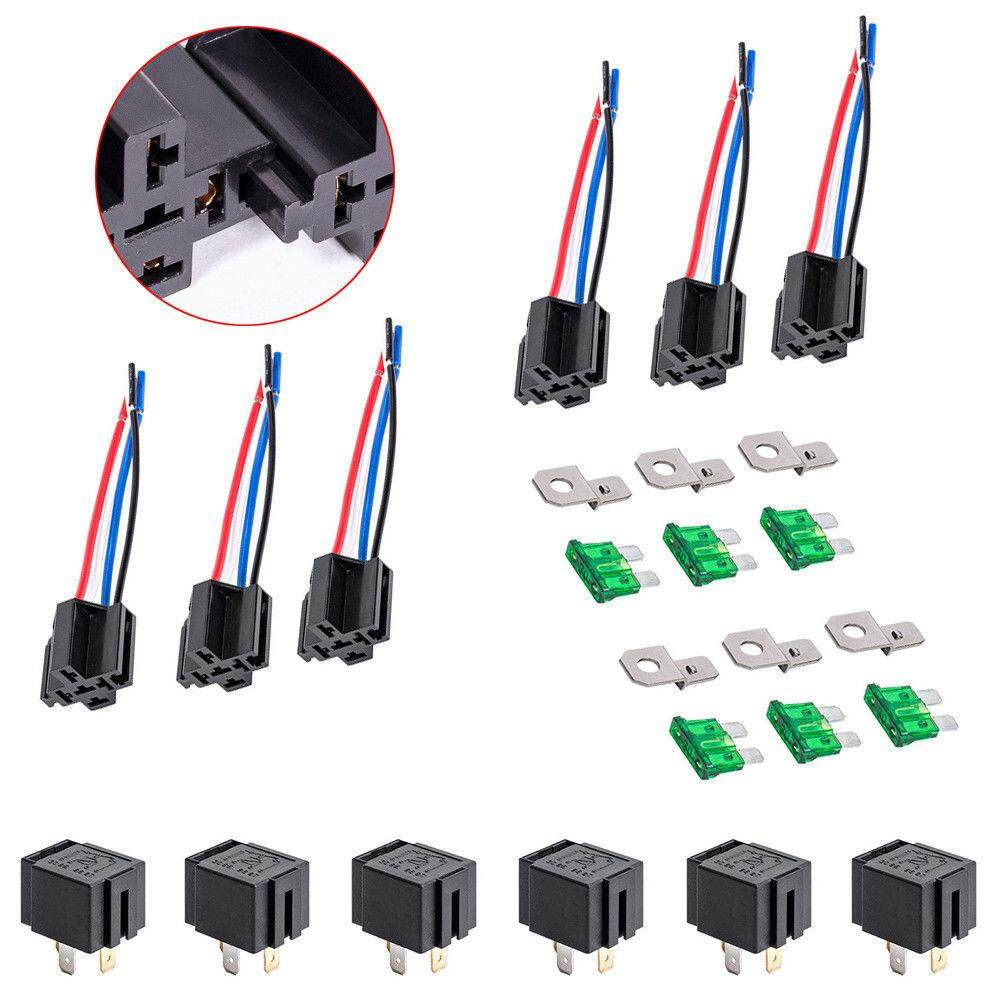 Features Beautymaker 6sets 12v 30a Fuse Relay Switch Harness Kit Spst 4pin 14 Awg Hot Wires