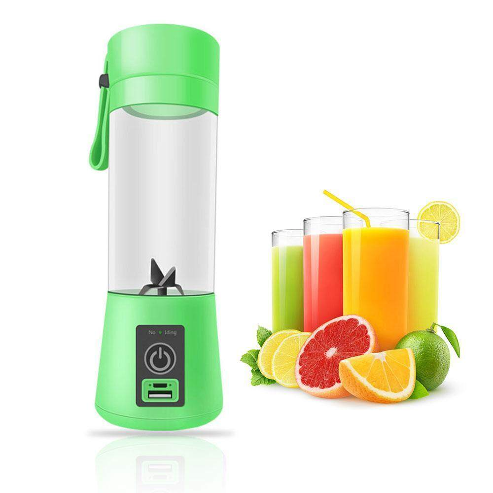 niceEshop Portable Juicer Bottle - Personal Blender USB Charger Fruit Mixing Machine, Mini Fruit Juice Extractor, Electric Rechargeable Mixer Cup 400ml With Cable