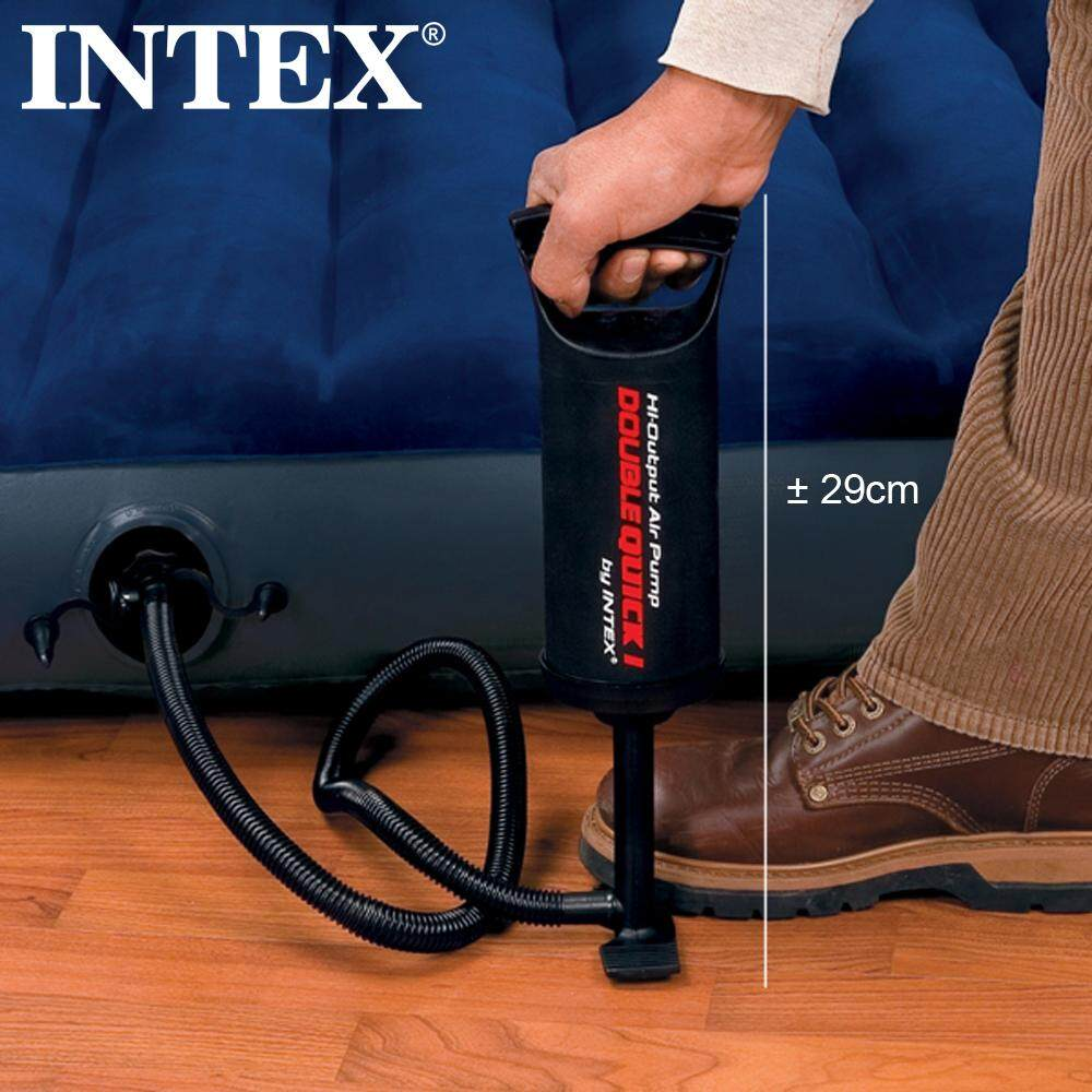 INTEX Double Quick Inflate Manual Hand Air Pump Inflator for Inflatable Pool Bed Toy Mattress