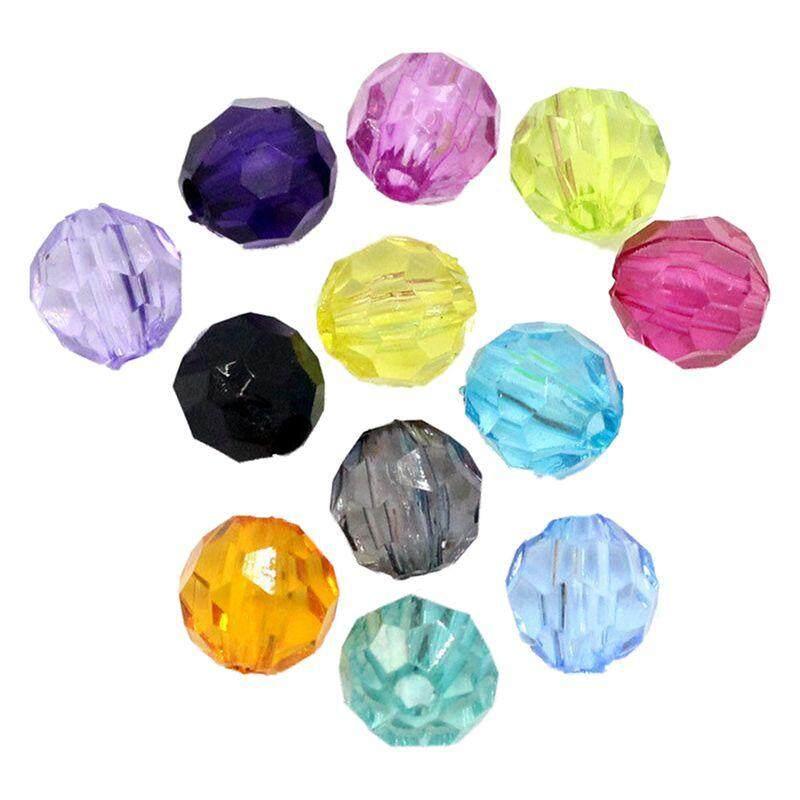500 Pcs Manik Spacer Plastik Bola Bundar Faset Warna Acak 6 Mm X 6 Mm (2/8