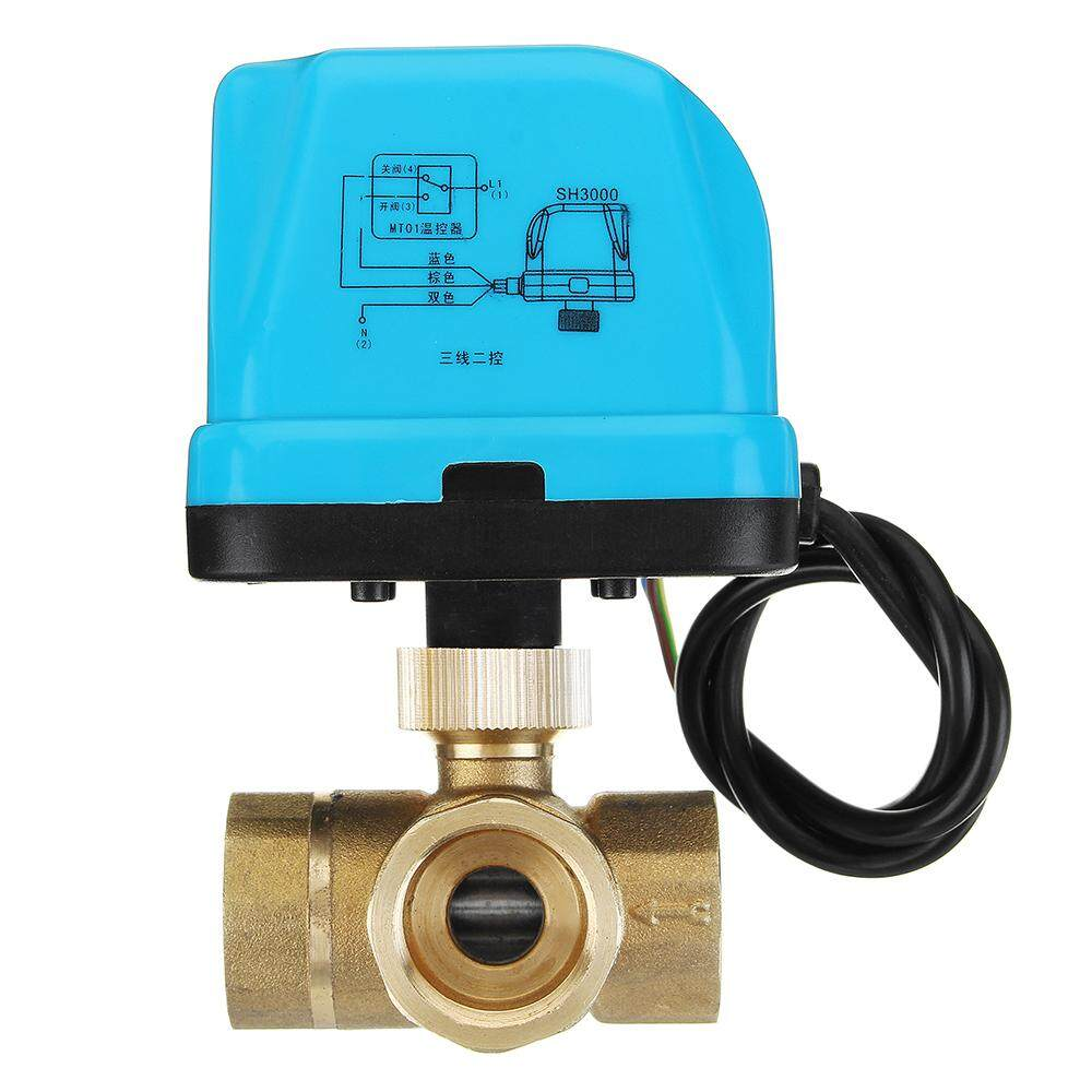 TMOK DN20 Brass Electric Motorized 3 Way Ball Valve HVAC Heating Ventilation Air Condition