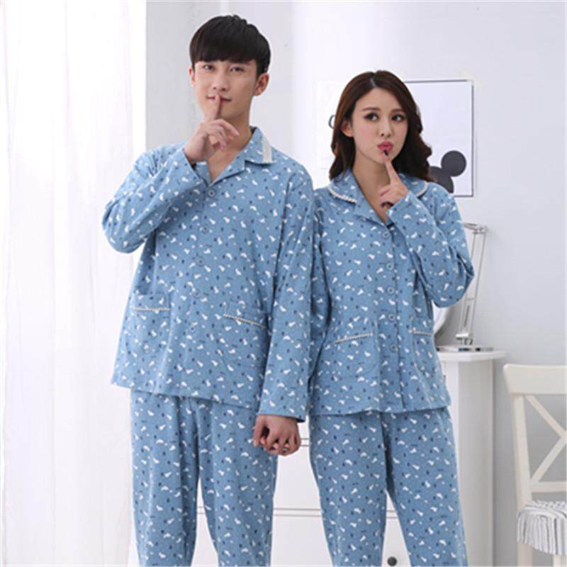 2018 spring and autumn leisure cardigan couples pajamas men knitted long  sleeve fresh ladies suit home 2769e0036