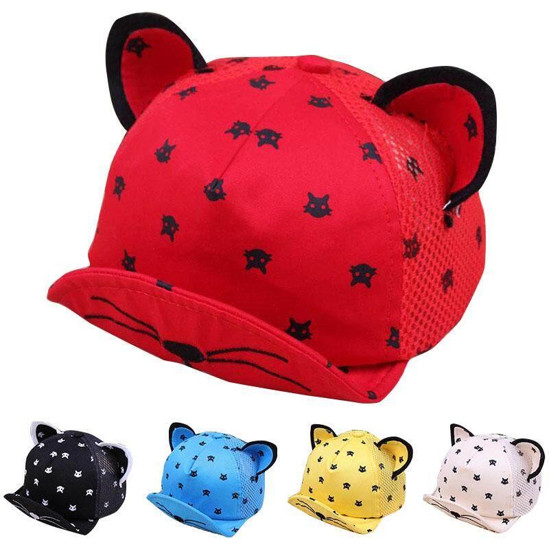 Kartun Bayi Kucing Musim Panas Anak Topi Indah Telinga Topi Bisbol Jaring Anak Perempuan Anak Laki-Laki Topi Katun Topi Bentuk By Rytain.