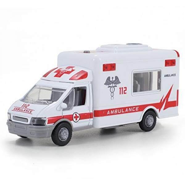 Diecast Ambulans Pullback Mainan Gesekan Kendaraan Darurat dengan Lampu dan Suara