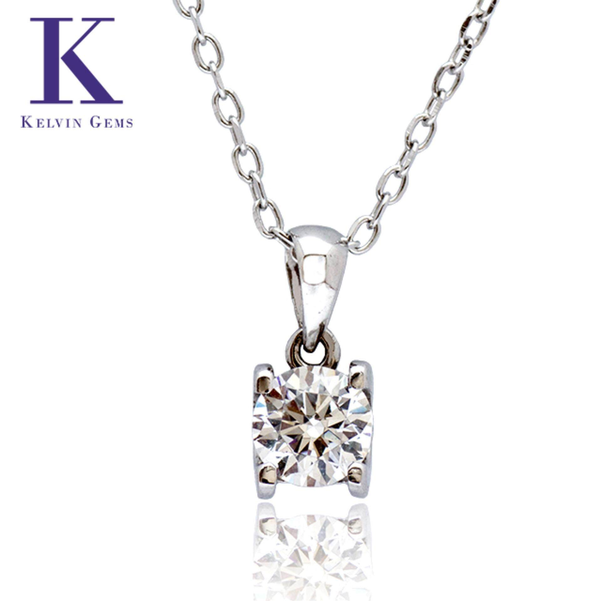 Kelvin Gems Premium Solitaire Necklace Made With Austrian Zirconia In 925 Sterling With 18K White Gold Plated