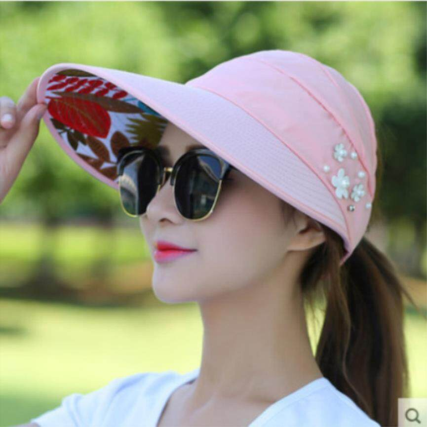 eb54eb6a9f8 UV Protect Sun Hat Foldable Large Brim Visor Cap Beach Sun Hat Outdoor  Travel Cap -