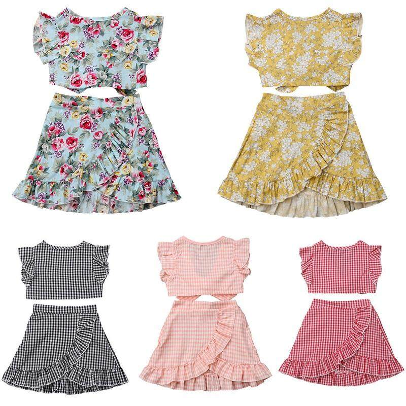 Bayi Balita Anak Gadis Atasan Musim Panas Gaun Pendek Rok 2 Pcs Pakaian Set Pakaian