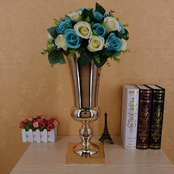 ZLOYI 1PC 43cm Large Stunning Silver Iron Luxury Flower Vase Urn Wedding Table Centrepiece (Flowers are NOT included)