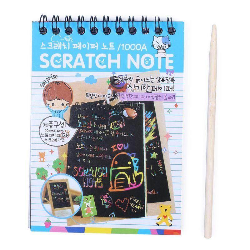 Mua 1pcs Scratch Note Black Cardboard Creative DIY Draw Sketch Notes for Kids Toy Notebook School Supplies(Blue) - intl