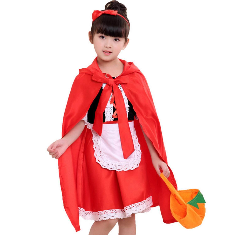 แฟนตาซีหญิงเล็กๆน้อยๆหมวกแดงเครื่องแต่งกาย + กระเป๋ารูปฟักทอง + สำหรับ Halloween Night เทศกาลคอสเพลย์ปาร์ตี้ 90 เซนติเมตร Maxi ชุดเดรสปาร์ตี้ By Stoneky.