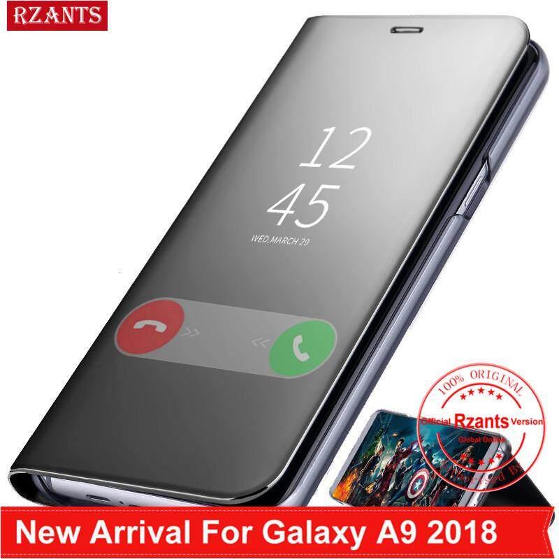Rzants untuk Samsung Galaxy A9 2018 A920 Casing Mewah Slim【mirror】intelligent Berdiri Ponsel Putar Kulit Casing