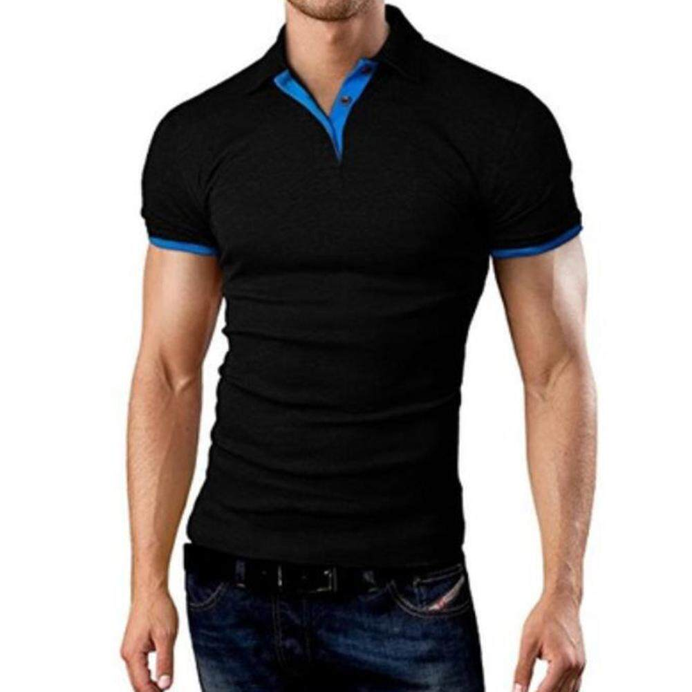 72074ccba SaiDeng Men Classic Slim Shirt Short Sleeve Hit Color Casual Simple Tops