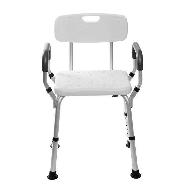 Buy Adjustable  Shower Chair Bathtub Bench Bath Seat Stool Armrest Back White - Singapore