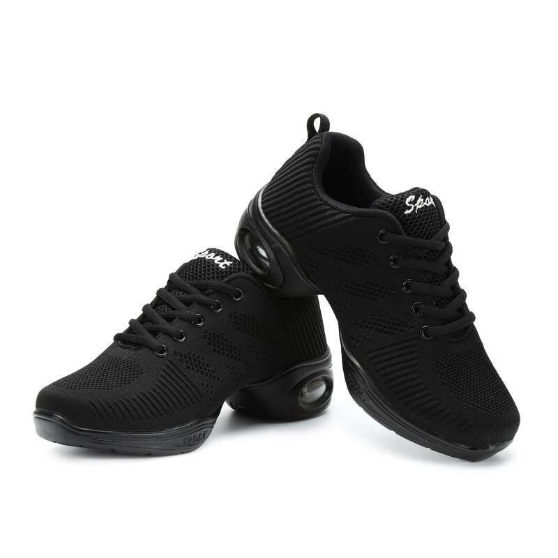 ... Modern Sepatu Dansa Hitam Putih Soft Menari Sepatu Kets Jala Bernafas  Bantal Udara Jazz Sepatu ... cdd75fc878