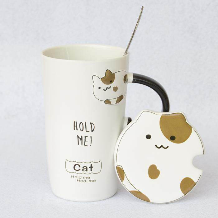 b5104eb02b3 Catmi Cup Ceramic Mug with Lid Spoon Cute Korean Style Office Large Capacity  Creative Schoolgirl Couple's