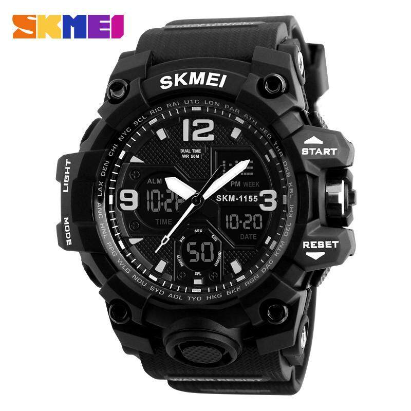 SKMEI 1155B Sports Men'S Watches,Multifuction Digital Anolog Dual Times Watch Men,Black Pu Strap 50Meters Waterproof - intl