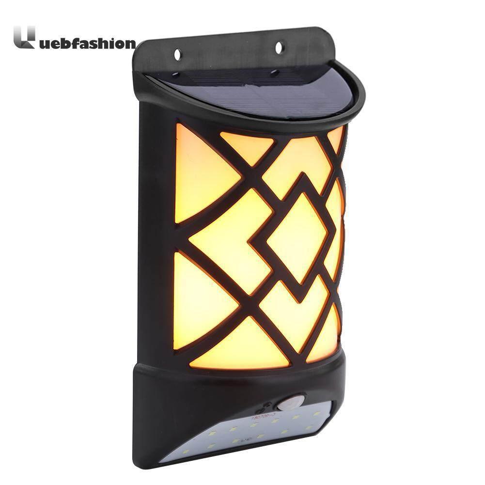 Uebfashion Solar Flame Effect Motion Sensor LED Wall Light Outdoor Garden Yard Lamp