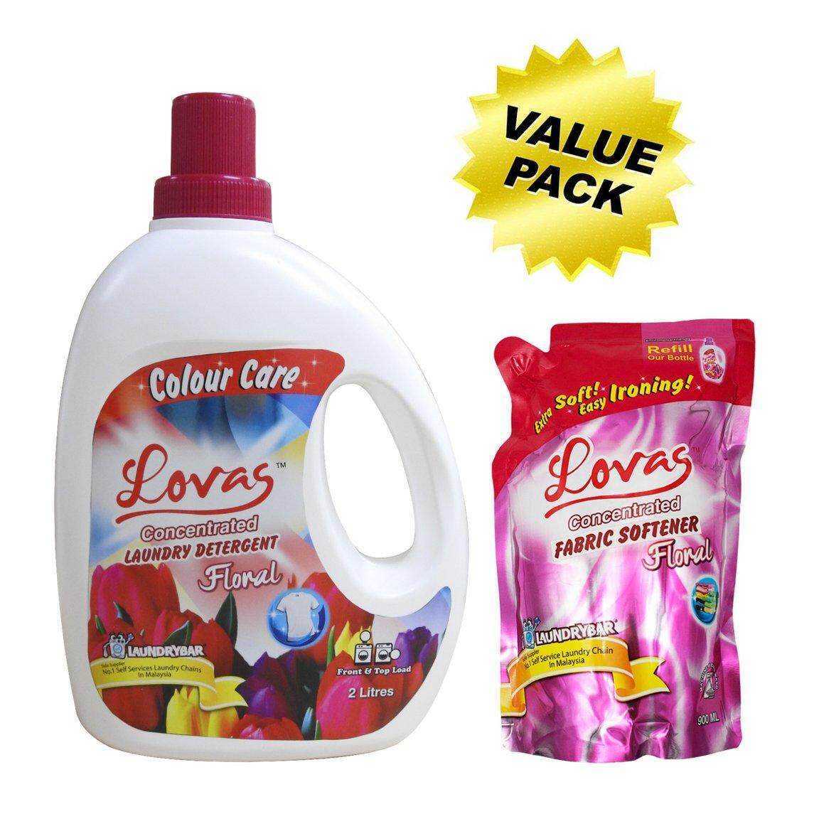 Value Pack - LOVAS Concentrated Laundry Detergent (2L) + LOVAS Concentrated Fabric Softener (900mL Refill Pack) [FLORAL]