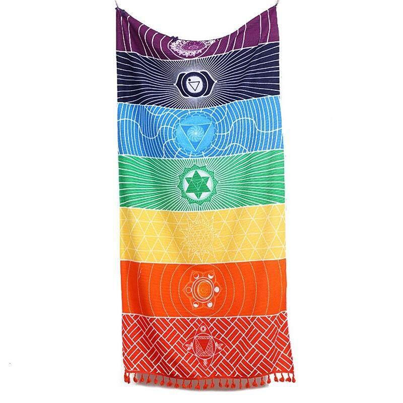Hot Rainbow Beach Mat Mandala Blanket Wall Hanging Tapestry Stripe Yoga Towel 150x75CM - Intl Đang Có Khuyến Mãi