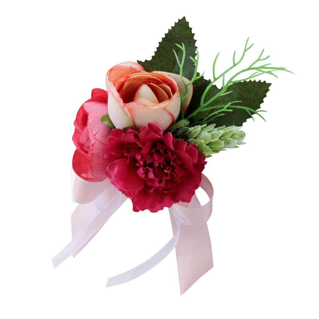 GuangquanStrade Wedding Tea Rose Carnation Silk Flower Boutonniere Corsage Bright Red