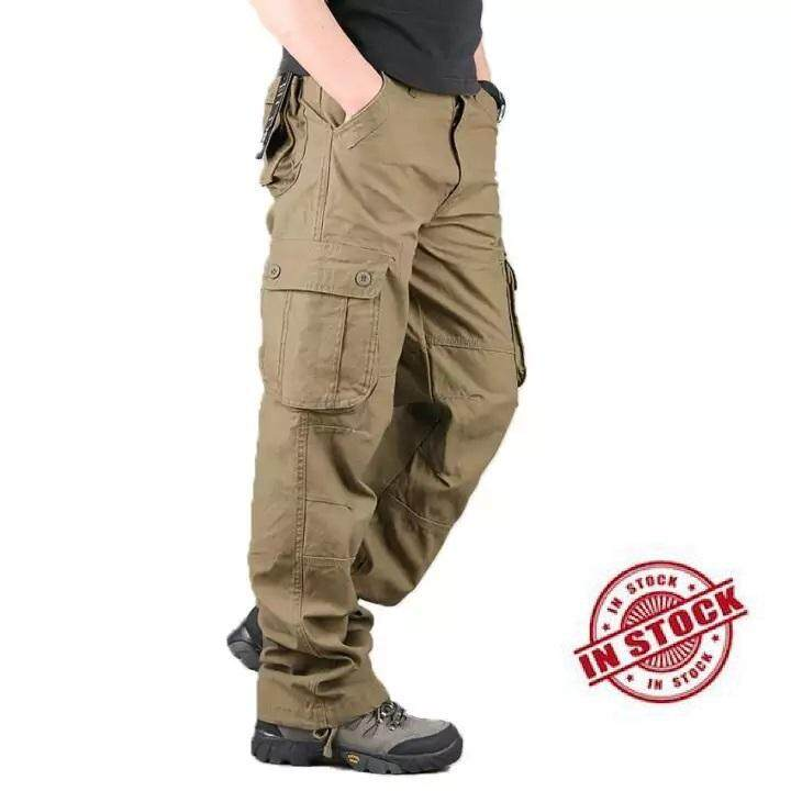 80d0fe118a3f  free shipping High Quality Men s Cargo Pants Casual Mens Pant Multi Pocket  Military Overall