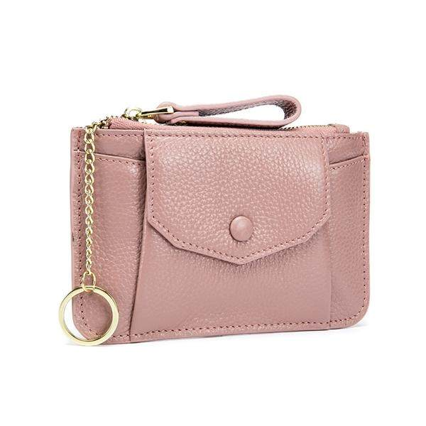 Women Genuine Leather Zip Mini Coin Purse With Key Ring Zipper Card Holder Case Wallet