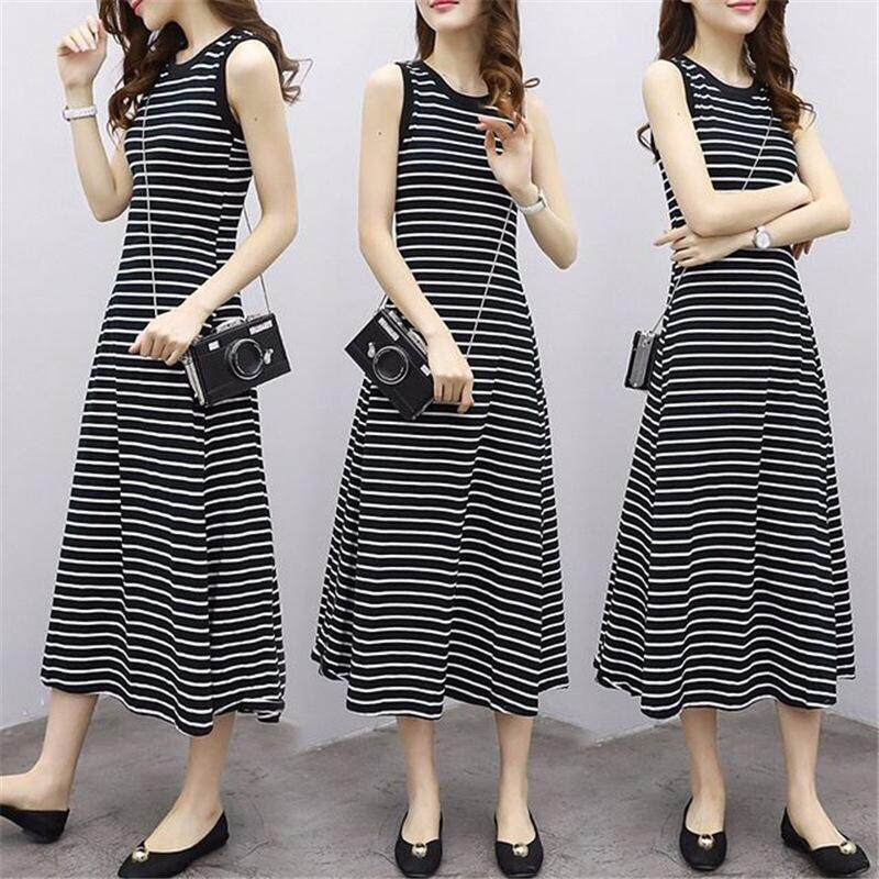 2018 The New Korean Version Has A Slim Striped Dress Women Summer Retro Simple Sleeveless