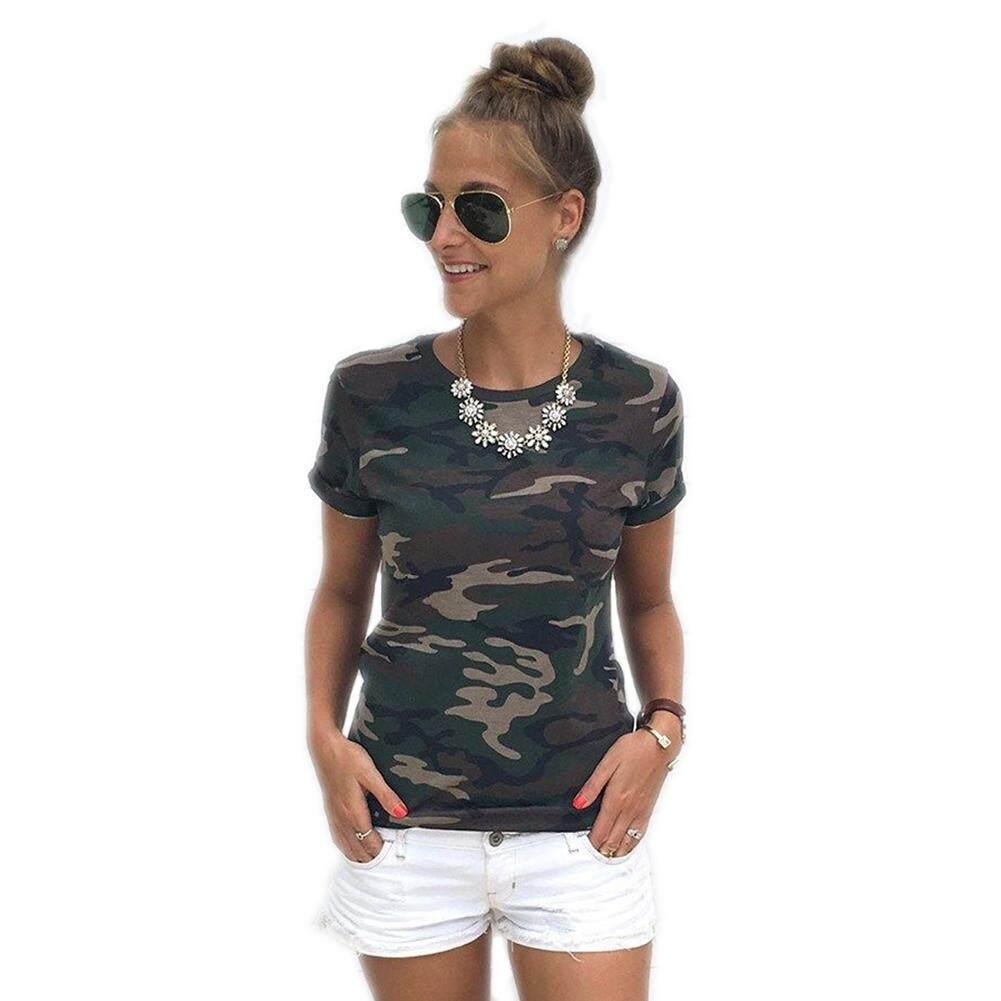 Desain Kamuflase Wanita Musim Panas Kasual Kasual Lengan Pendek Kaus Kemeja Longgar Kaus Pakaian Ukuran S, M, l, Xl, XXL, Hijau Angkatan Darat, Merah Muda-Internasional