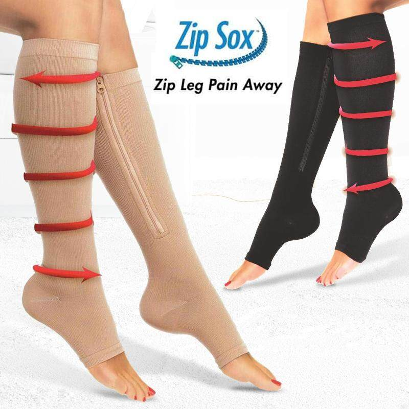 (Black - S/M)Unisex Compression Zip Sox Socks Zipper Leg Support Open Toe Knee Stockings