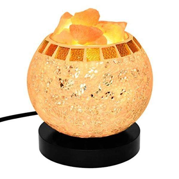 Himalayan Salt Lamp, Natural Crystal Salt Lamp Salt Chunks in Glass Bowl with Wood Base, Bulb and Dimmer Control for Christmas Gift and Home Decorations. [energy class a+++] - intl