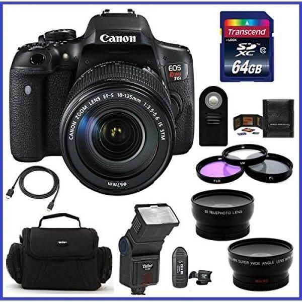 Canon EOS Rebel T6i DSLR Kamera dengan EF-S 18-135 Mm F/3.5-5.6 IS Lensa STM (Amerika Serikat) + 64 GB SDXC CLASS 10 Kartu Memori + Telephoto & Lensa Sudut Lebar + Auto Power Flash...