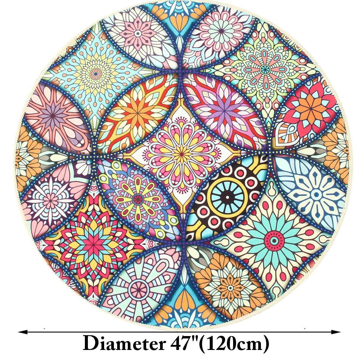 120CM Mandela Flower Round Carpet Living Room Area Rugs Yoga Floor Mat