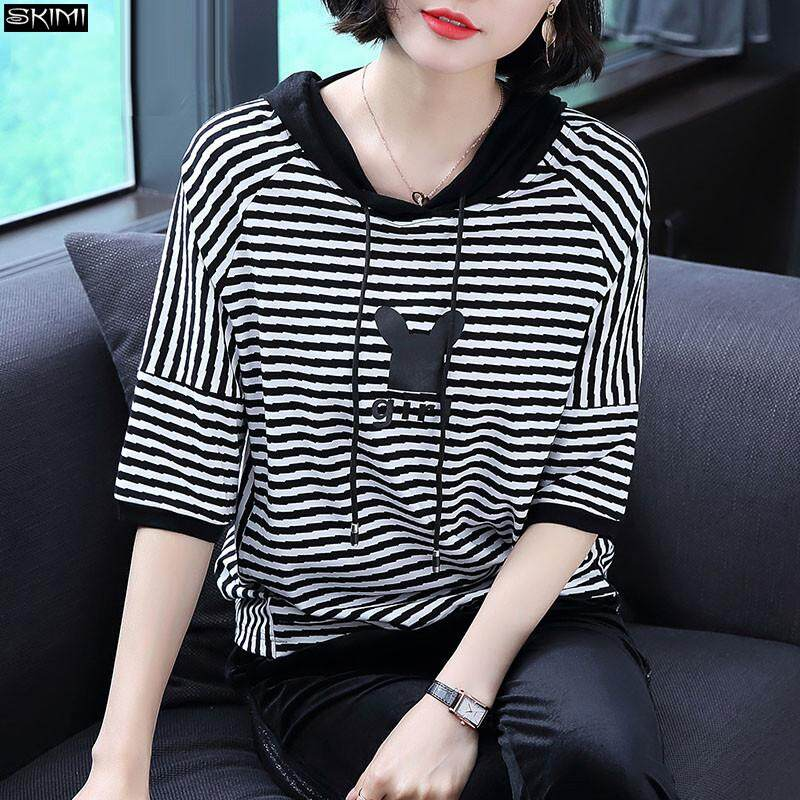 b72e65e3a1395 COCOEPPS 2019 Women New Cotton Autumn Large size Stripes Women Fat mm  Hooded T-shirts