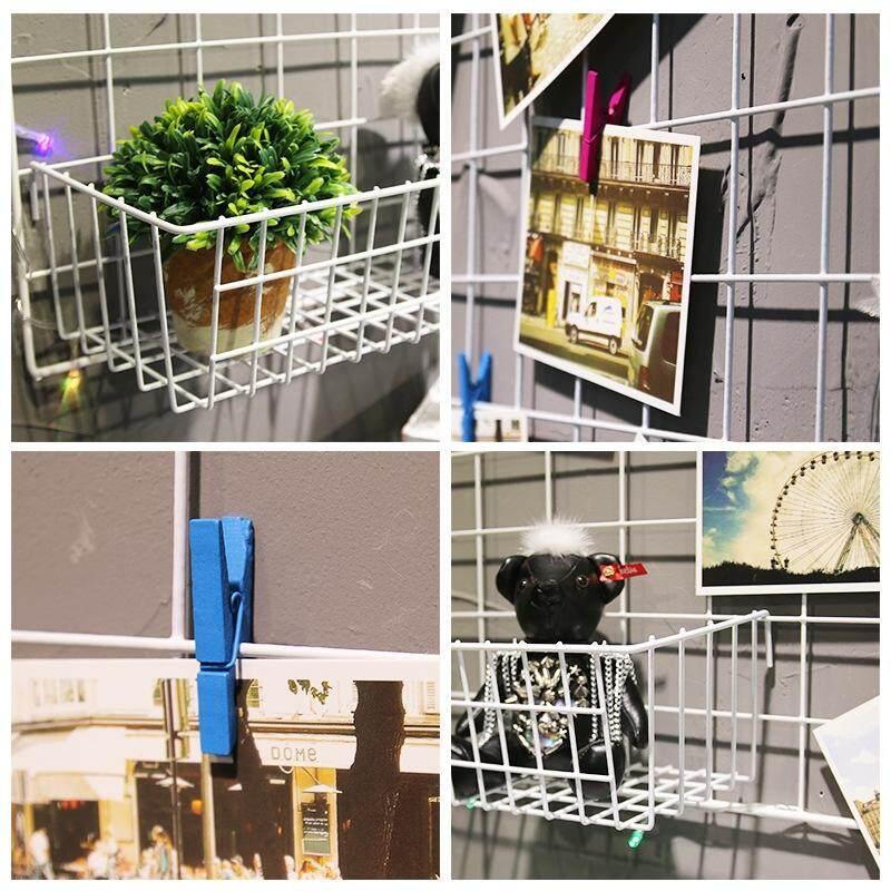 Nordic mesh, photo wall, photo frame, wall iron, large basket#White